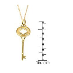 14k Yellow Gold and Sterling Silver Diamond Accent Clover Key Necklace - Thumbnail 2