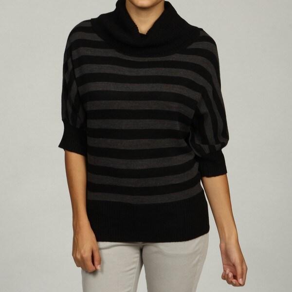 Razzle Dazzle Women's Black/Ash Striped Cowlneck Dolman Sleeve Sweater FINAL SALE