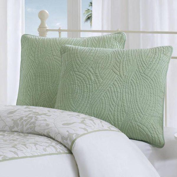 Harbor House Brisbane Green Embroidered Cotton Euro Sham