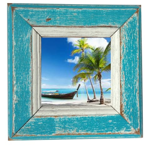 Handmade Boat Wood Kamlai Square Picture Frame (Thailand