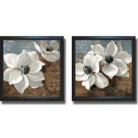 Lanie Loreth 'White Magnolias I and II' Framed 2-piece Canvas Art Set