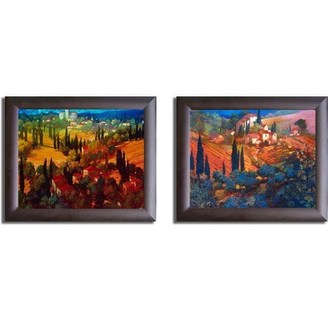 Philip Craig 'Tuscan Landscape' Framed 2-piece Textured Print Set