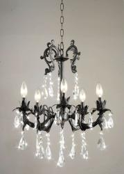 Crystal 5-light Black Ornate Iron Chandelier - Thumbnail 2