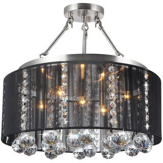 Crystal 5-light Black Shade and Satin Nickel Semi-ceiling Lamp
