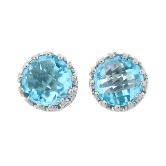 Meredith Leigh Sterling Silver Crown-set Blue Topaz Earrings