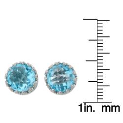 Meredith Leigh Sterling Silver Crown-set Blue Topaz Earrings - Thumbnail 2