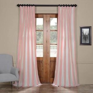 Exclusive Fabrics Pink and Cream Striped Faux Silk Taffeta Curtain Panel