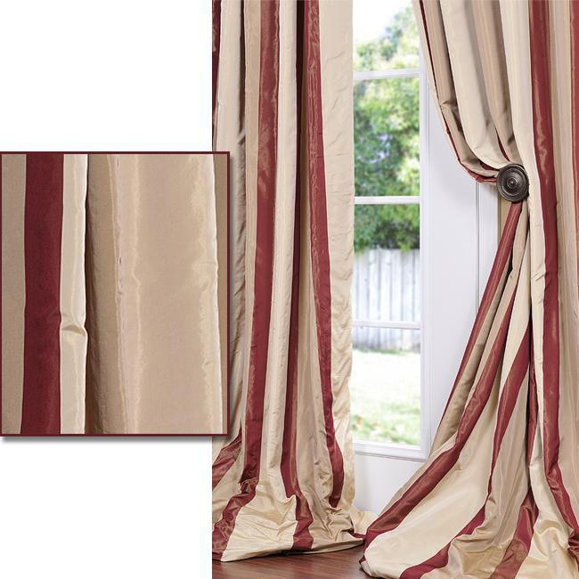 Exclusive Fabrics Cream/ Burgundy/ Tan Stripe Faux Silk Taffeta 84-inch Curtain Panel