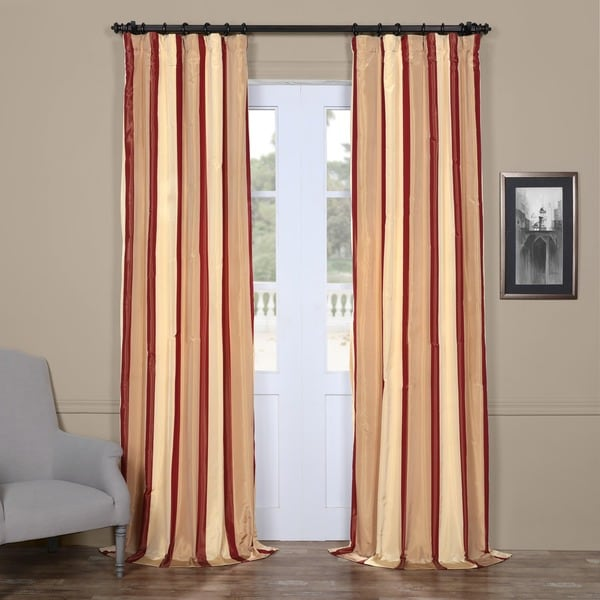 Exclusive Fabrics Cream Burgundy Tan Stripe Faux Silk