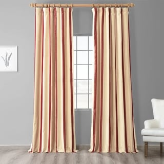 Exclusive Fabrics Cream/ Burgundy/ Tan Stripe Faux Silk Taffeta Curtain Panel