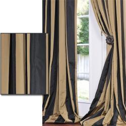 Exclusive Fabrics Black/ Gold Stripe Faux Silk Taffeta 84-inch Curtain Panel