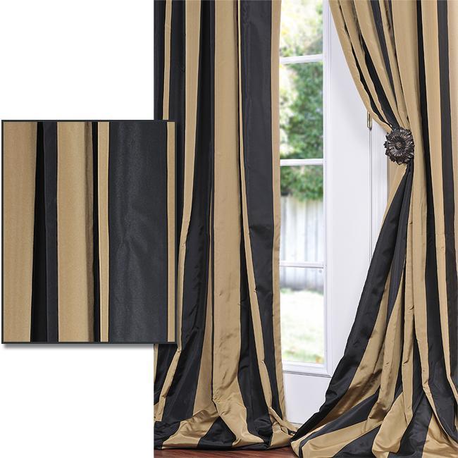 Exclusive Fabrics Black/ Gold Stripe Faux Silk Taffeta 96-inch Curtain Panel