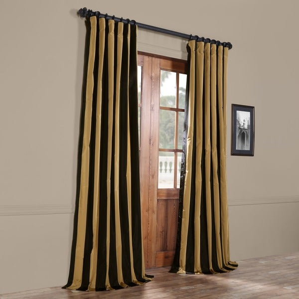 Exclusive Fabrics Black Gold Stripe Faux Silk Taffeta Curtain - Black and gold stripe drapery fabric