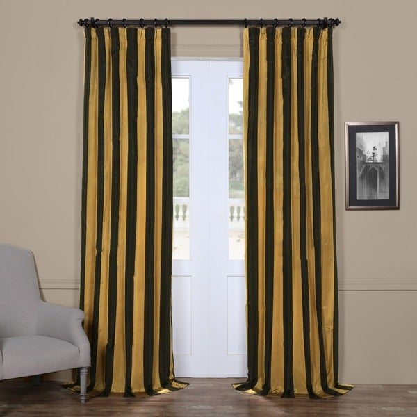 Exclusive Fabrics Black/ Gold Stripe Faux Silk Taffeta Curtain ...