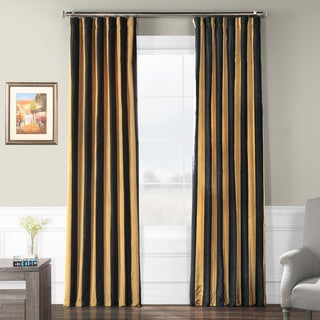 Exclusive Fabrics Black/ Gold Stripe Faux Silk Taffeta Curtain Panel