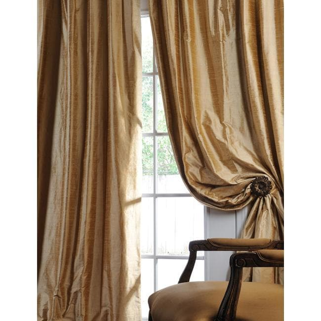 Exclusive Fabrics Signature Biscotti Textured Silk 96-inch Curtain Panel