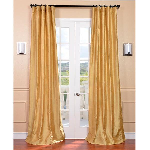 Exclusive Fabrics Signature Sunrise Gold 96-inch Textured Silk Curtain Panel