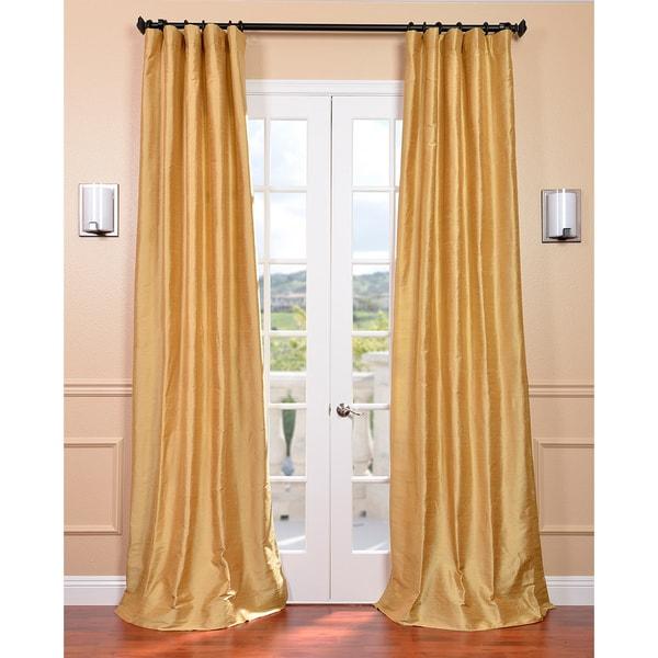 Exclusive Fabrics Signature Sunrise Gold Textured Silk Curtain Panel