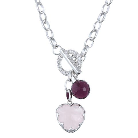 La Preciosa Sterling Silver Pink and Amethyst CZ Toggle Necklace