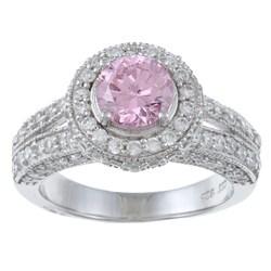 La Preciosa Sterling Silver Pink and White Cubic Zirconia Ring