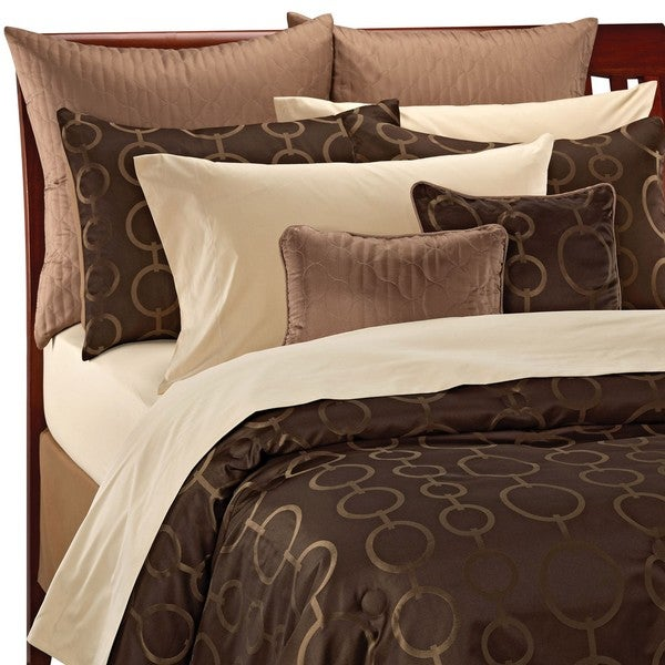 Chocolate Gold Art Deco Circle Queen Size 12 Piece Bed In