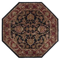 Hand-tufted Grandeur Black Wool Rug (8' Octagon) - Thumbnail 1
