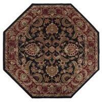 Hand-tufted Grandeur Black Wool Area Rug (8' Octagon)