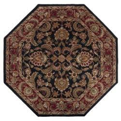 Hand Tufted Grandeur Black Wool Area Rug 8 Octagon