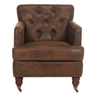 Safavieh Manchester Antiqued Brown Tufted Club Chair