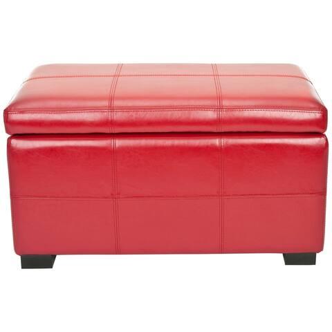 """Safavieh Madison Red Bicast Leather Indoor Storage Bench - 30.1"""" x 18.1"""" x 17.7"""""""