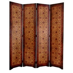 Faux Leather Olde-Worlde Victorian 6-foot 4-panel Room Divider (China)