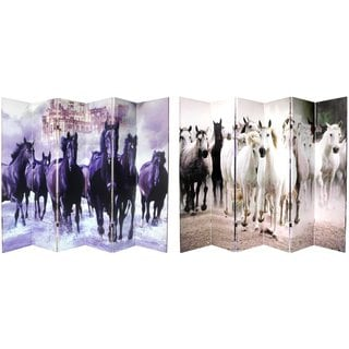 Canvas 6-foot 6-panel Double-sided Horses Room Divider (China)