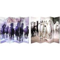 Canvas 6-foot 6-panel Double-sided Horses Room Divider (China) - 8' x 11'