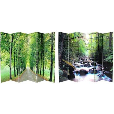 Handmade Canvas 6-foot 6-panel Path of Life Room Divider (China) - 6' x 6'