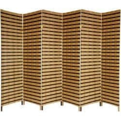 Wood and Natural Fiber 6-foot 6-panel Two-tone Room Divider (China)