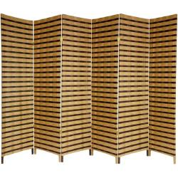 Handmade Wood and Natural Fiber 6-foot 6-panel Two-tone Room Divider (China)