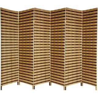Link to Handmade 6' Wood and Natural Fiber 6-panel Two-tone Room Divider Similar Items in Decorative Accessories