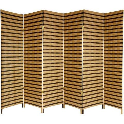 Handmade 6' Wood and Natural Fiber 6-panel Two-tone Room Divider