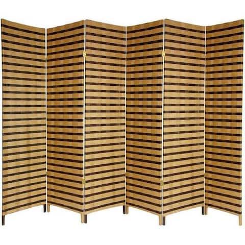 Handmade 6' Wood and Natural Fiber Two-Tone Room Divider
