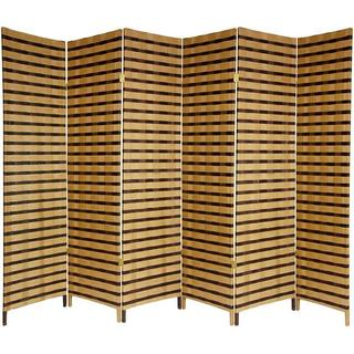 Handmade 6' Wood and Natural Fiber Two-Tone Room Divider