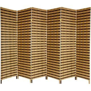 Handmade Wood and Natural Fiber 6-foot 6-panel Two-tone Room Divider (China)|https://ak1.ostkcdn.com/images/products/5691033/P13433251.jpg?impolicy=medium