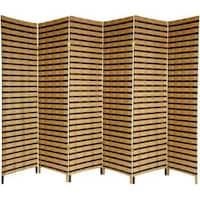 Handmade Wood and Natural Fiber 6-foot 6-panel Two-tone Room Divider (China)