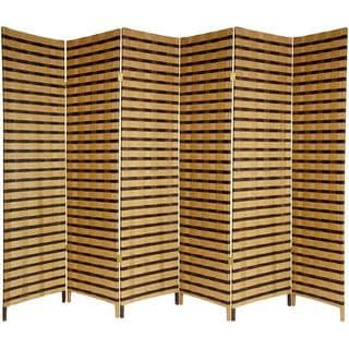 Handmade Wood And Natural Fiber 6 Foot 6 Panel Two Tone Room Divider