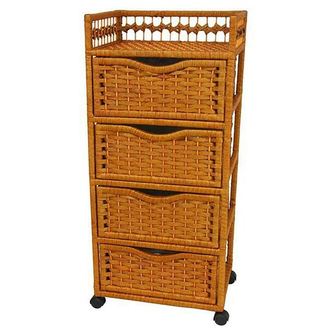 Handmade Natural Fiber Wheeled 4-drawer Chest of Drawers (China)