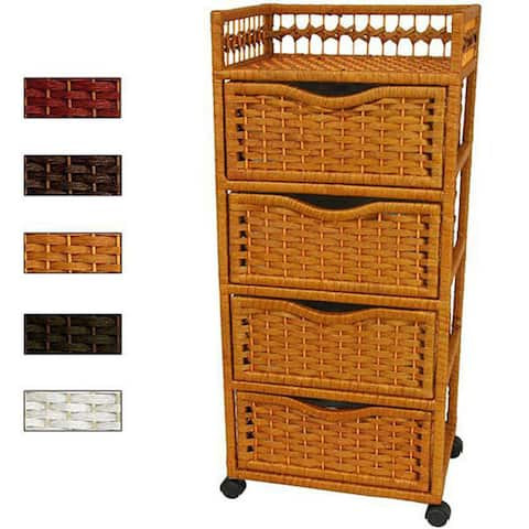 """Natural Fiber Wheeled 4-drawer Chest of Drawers (China) - 17.25""""W x 12.50""""D x 38.25""""H"""