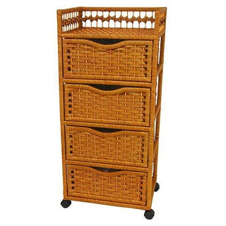 Natural Fiber Wheeled 4-drawer Chest of Drawers (China) (4 options available)