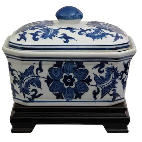 "Handmade 8"" Porcelain Blue and White Floral Covered Jar"