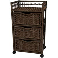 Natural Fiber Wheeled 3-drawer Chest of Drawers (China)
