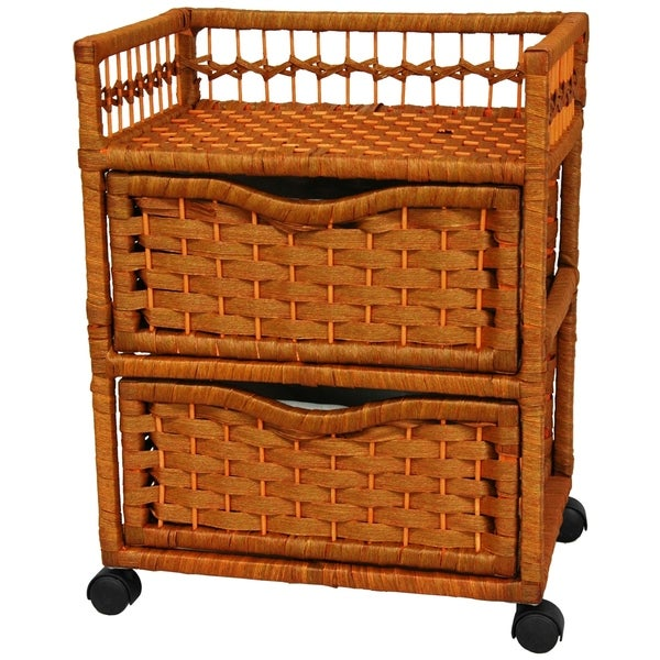 Oriental Furniture Good Excellent Quality Affordable Nightstand End Tables 16-Inch 2 Drawer Natural Fiber Rattan Style Storage Chest with Casters-Black