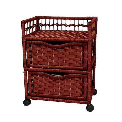 "Handmade Natural Fiber Wheeled 2-drawer Chest of Drawers - 17.25""W x 12.50""D x 22.00""H"